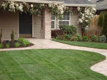 curb appeal - manicured lawn, curved pathway, entrance