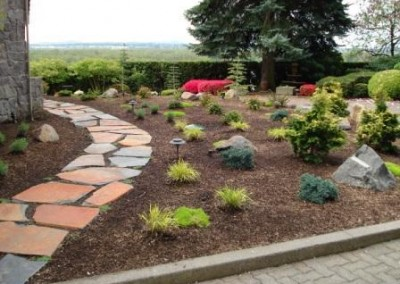 pathway mulch lighting native plantings curb appeal