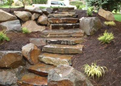 Landscape stone stair installation Vancouver, WA