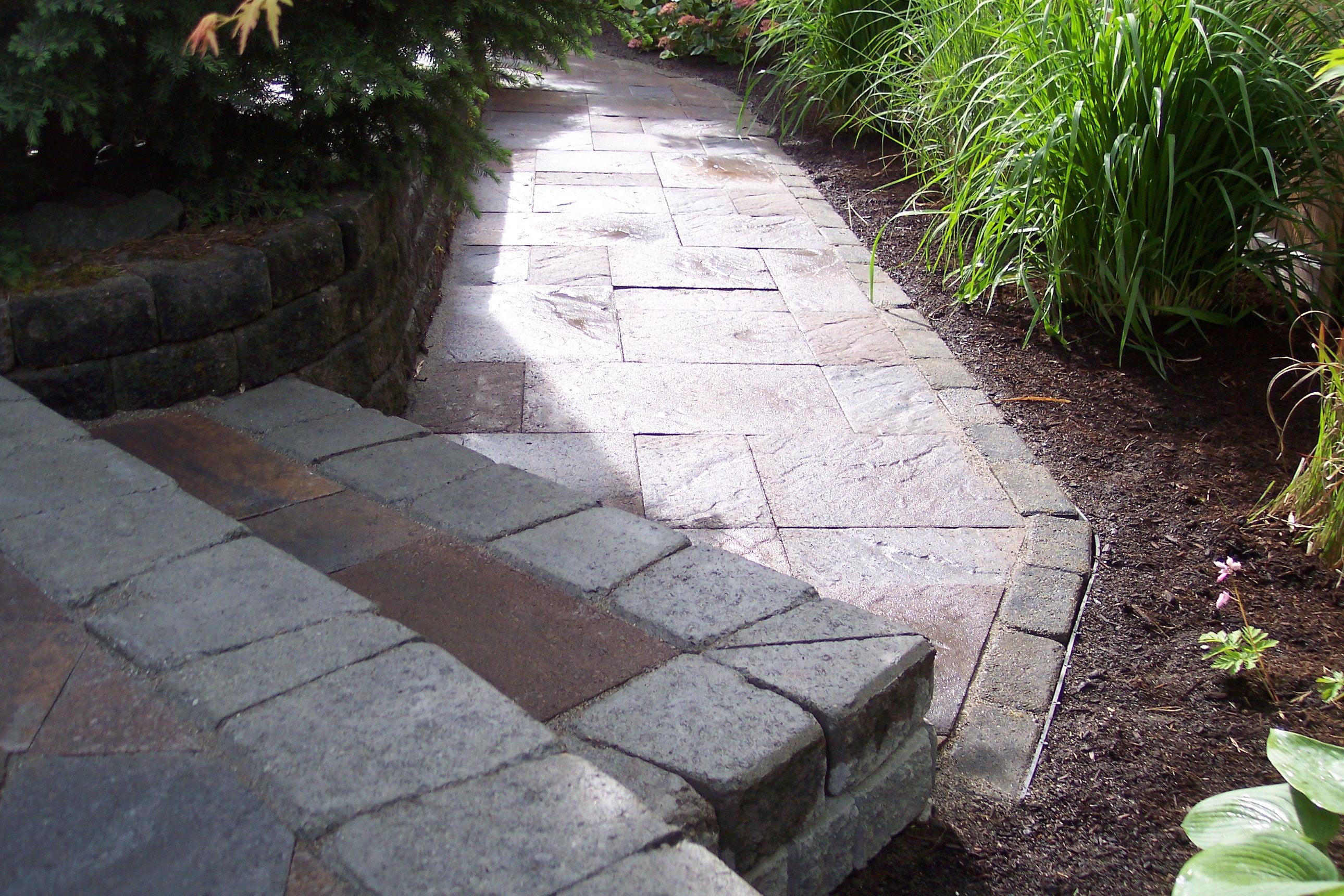 Back patio stone path