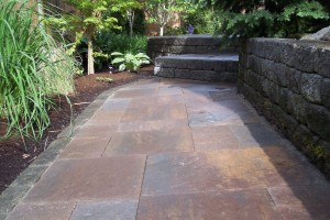 Paver path steps and retaining wall