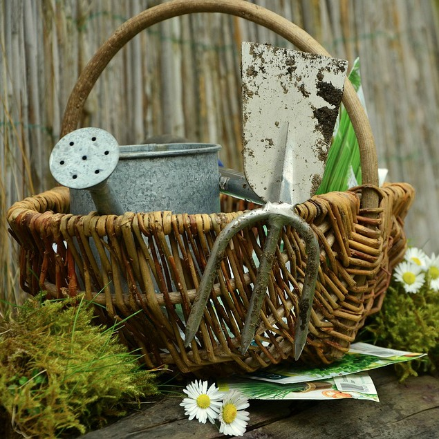 basket with tools for garden chores
