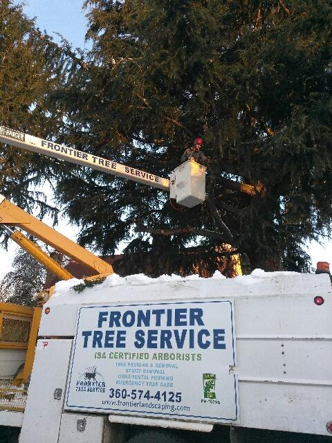 Frontier landscaping tree service crane and chipper closeup