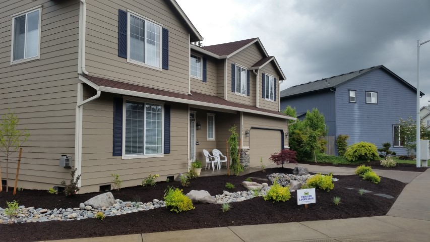 front yard makeover lawn loss dry creek bed native plantings Clark County WA