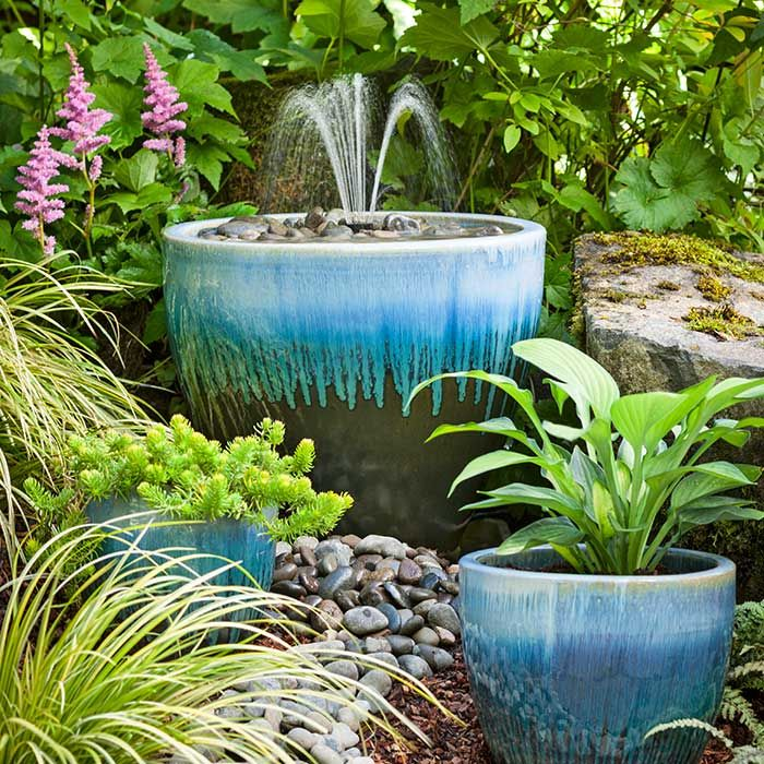 glazed ceramic pot water fountain planter