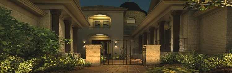 Exterior lighting installation with Frontier Landscaping services.